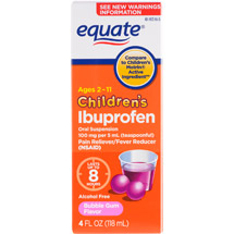 Equate Children's Ibuprofen Oral Suspension Bubble Gum Flavor Pain Reliever/Fever Reducer