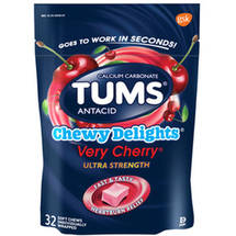 TUMS Chewy Delights Antacid Relief Calcium Soft Chews Very Cherry Flavor Ultra Strength