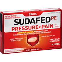Sudafed PE Caplets Pain for Adults Caplets