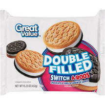 Great Value Double Filled Switch-A-Roos Chocolate & Vanilla Sandwich Cookies