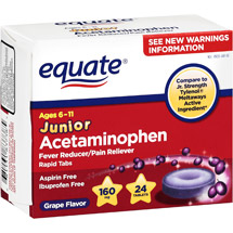 Equate Junior Pain Relief Grape Tablets
