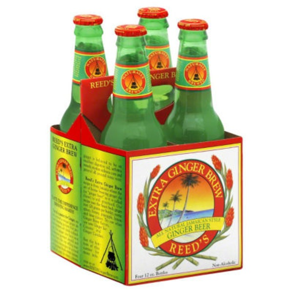 Reed's Gi Extra Ginger Brew All Natural Jamaican Style Non-Alcoholic Ginger Beer - 4 CT