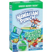 Hawaiian Punch Sugar Free Singles to Go! Green Berry Rush Drink Mix Packets