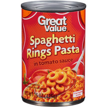 Great Value Spaghetti Rings In Tomato Sauce