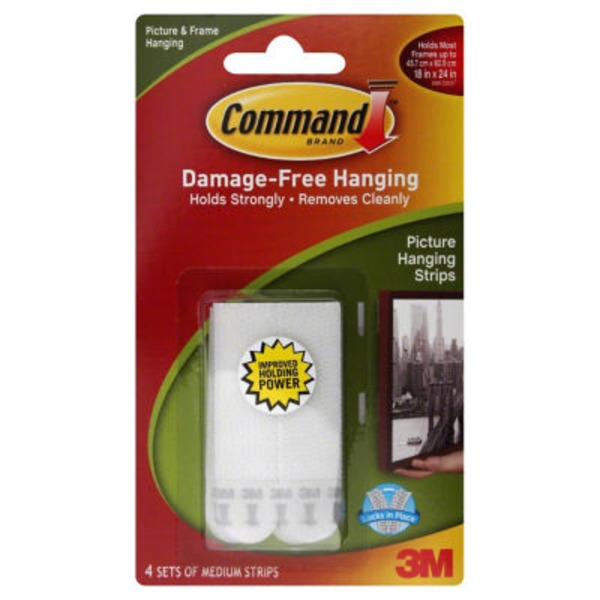 3m Command Damage-Free Hanging Medium Picture Hanging Strips White - 4 CT