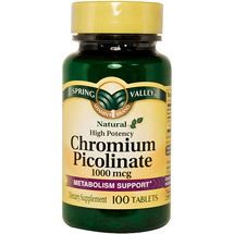 Spring Valley: Chromium Picolinate 1000 Mcg Tablets Dietary Supplement