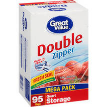 Great Value Double Zipper Quart Size Storage Bags
