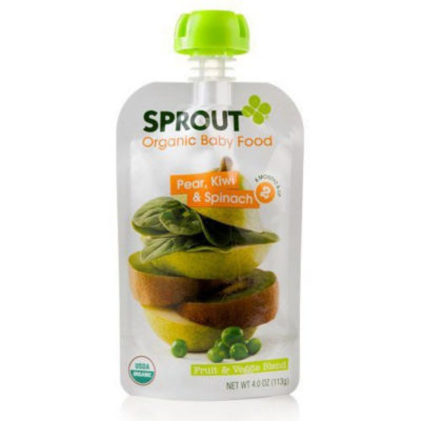 Sprouts Organic Baby Food Pear, Kiwi & Spinach
