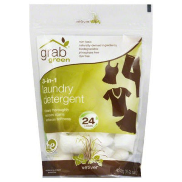 Grab Green 3-in-1 Laundry Detergent Pods  Vetiver scent