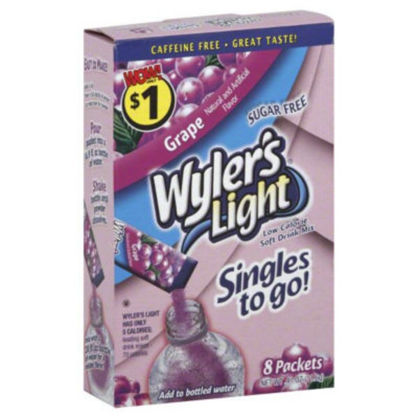 Wylers Drink Mix, Grape, Singles to Go, Light, Sugar Free, Box
