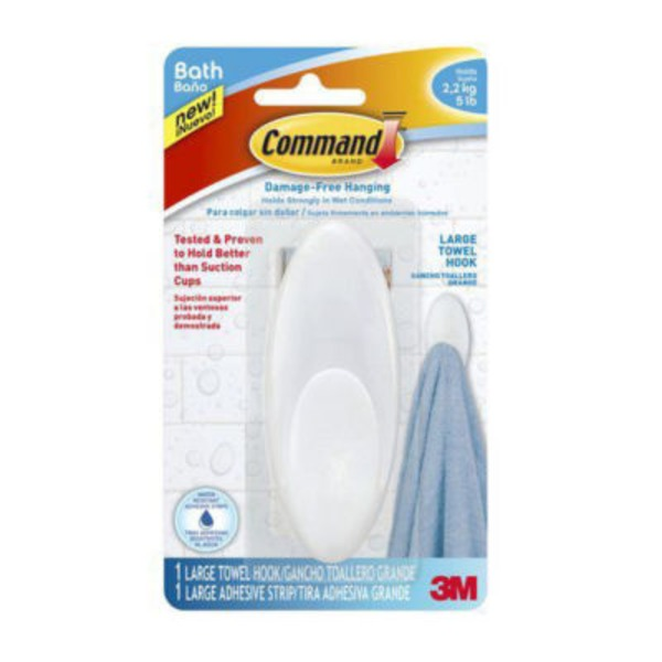 3m Command Damage-Free Hanging Bath Large Towel Hook