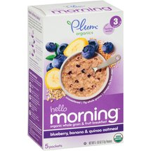 Plum Organics Hello Morning Blueberry Banana & Quinoa Oatmeal Stage 3 Baby Food
