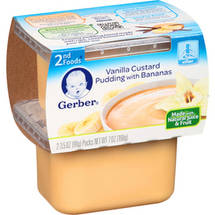 Gerber 2nd Foods Vanilla Custard Pudding w/Bananas 3.5 Oz