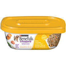 Purina Beneful Chopped Blends Wet Dog Food with Chicken Liver Peas Brown Rice and Sweet Potatoes 10-oz Plastic Tub