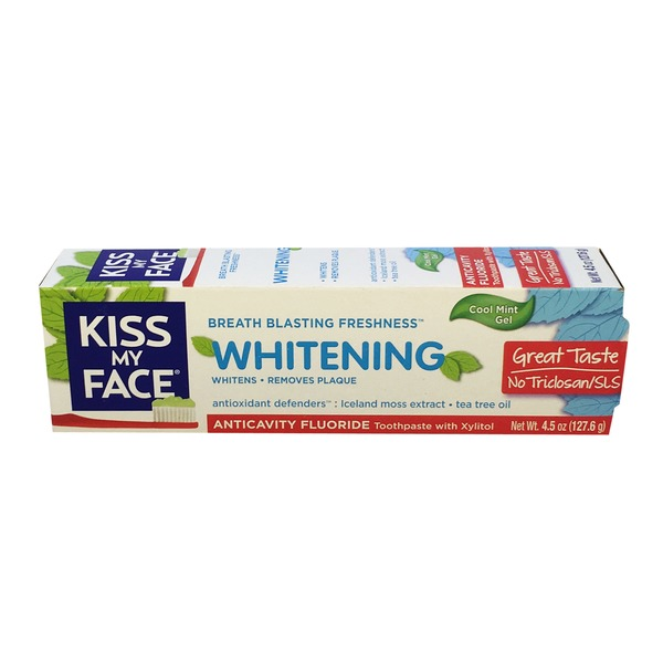 Kiss My Face Cool Mint Gel Anticavity Fluoride Whitening Toothpaste