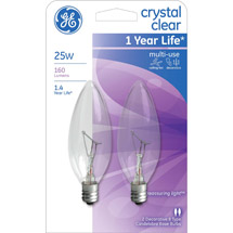 GE crystal clear 25 watt blunt tip