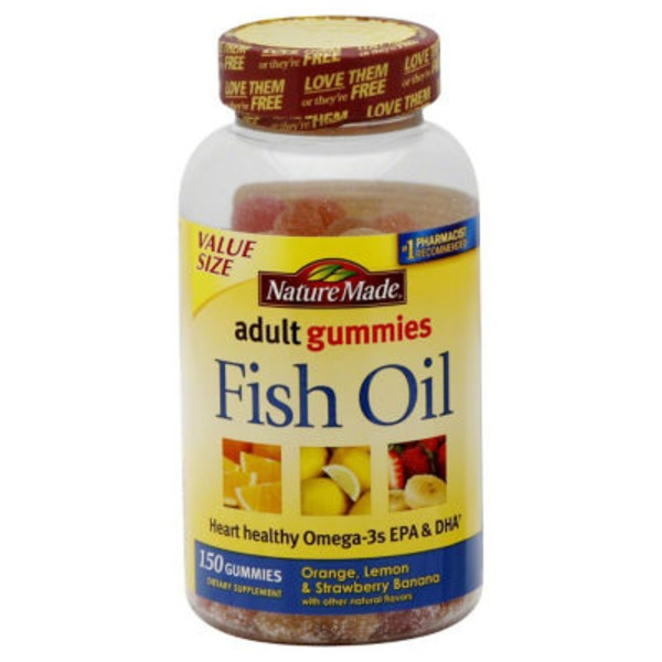 Nature Made Adult Gummies Fish Oil Orange, Lemon & Strawberry Banana Flavors - 150 CT