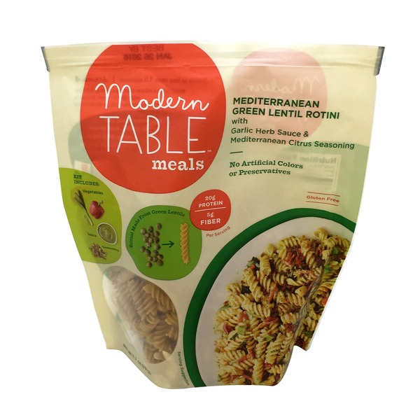 Modern Table Meals Green Lentil Rotini With Garlic Herb Sauce