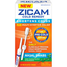 Zicam Cold Remedy Plus Multi-Symptoms Relief Nasal Swabs with Cooling Menthol & Eucalyptus