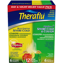 Theraflu Cold & Flu Relief Day/Night Value Pack Hot Liquid Powder Green Tea & Honey Lemon Flavors