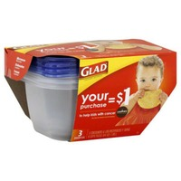 Glad Deep Dish Containers & Lids - 3 CT