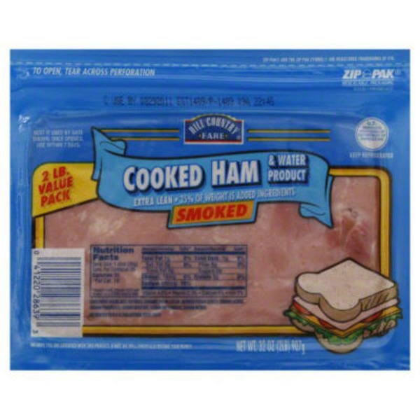 Hill Country Fare Cooked Extra Lean Smoked Value Pack Ham And Water Product