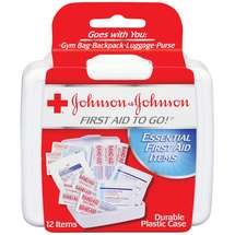 Johnson & Johnson Red Cross Mini First Aid To Go Kit Plastic Case