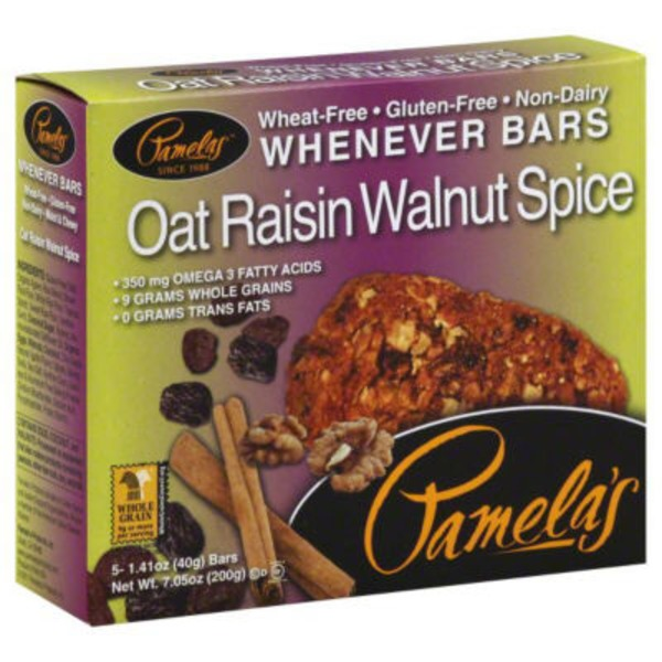 Pamela's Gluten Free Oat Raisin Walnut Spice Whenever Bars - 5 CT