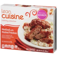Lean Cuisine Comfort Savory meatloaf with gravy & creamy red skin mashed potatoes Meatloaf with Mashed Potatoes