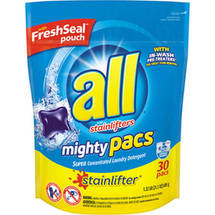 All Mighty Pacs Stainlifter Super Concentrated Laundry Detergent Pacs