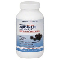 American Health Chewable Acidophilus and Bifidum Digestive Health Supplements Blueberry Flavor - 100 CT