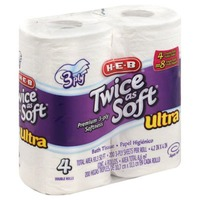 H-E-B Twice As Soft Bath Tissue Ultra 3 Ply Sheets