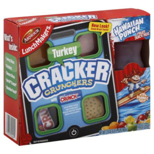 Armour Cracker Crunchers Turkey with 6.75 fl oz Hawaiian Punch Fruit Juicy Red LunchMakers