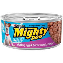 Purina Mighty Dog Chicken Egg & Bacon Country Platter Dog Food 5.5 oz. Pull-Top Can