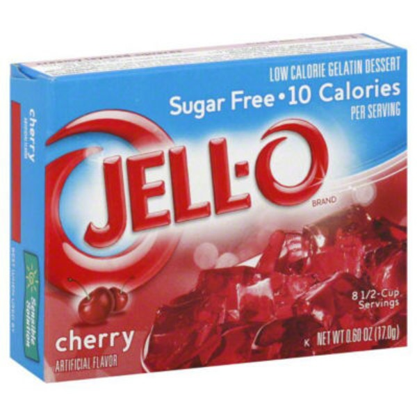 Jell-O Sugar Free Cherry Low Calorie Gelatin Dessert Mix