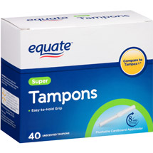 Equate Biodegradable Applicator Tampons Super