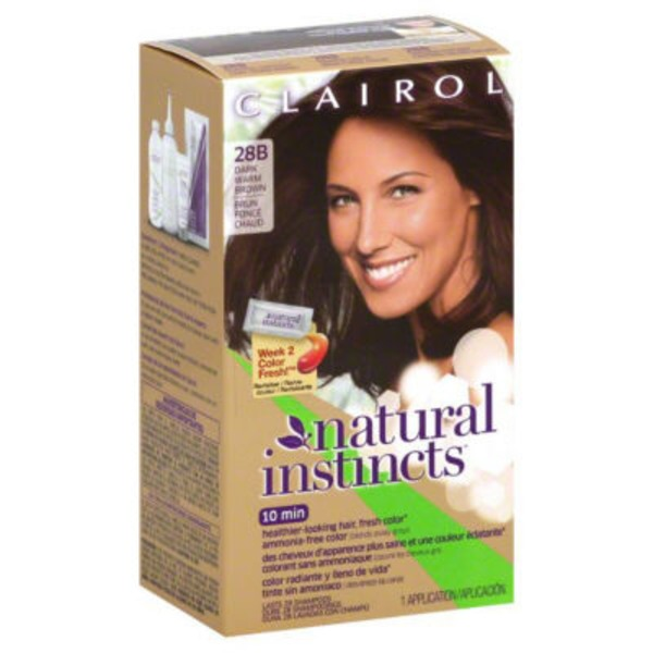Clairol Natural Instincts 28B, Roasted Chestnut, Dark Warm Brown 1 Kit  Female Hair Color