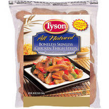 Tyson Boneless Skinless Chicken Thigh Strips
