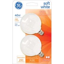 GE soft white 40 watt G16.5