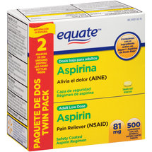 Equate Adult Low Dose Aspirin Pain Reliever (NSAID) Enteric Coated Tablets (Pack of 2)