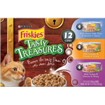 Friskies Wet Cat Food Tasty Treasures Variety Pack Pack of 12