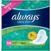 Always Ultra-Thin Unscented Pads with Wings Long/Super