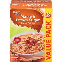 Great Value Maple & Brown Sugar Instant Oatmeal