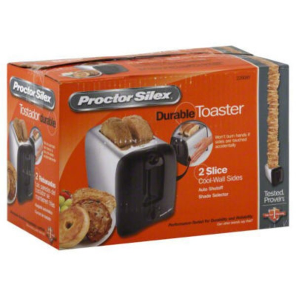 Proctor Silex Black & Chrome Durable Toaster 2 Slice Cool Wall Sides