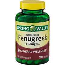 Spring Valley Whole Herb Fenugreek Herbal Supplement Capsules