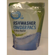 Great Value Fresh Scent Dishwasher Powder Pacs With Grease Fighting Action