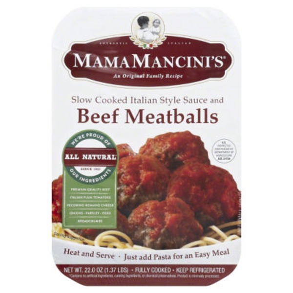 Mama Mancini's Meat Balls in Slow-Cooked Italian Style Sauce