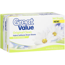 Great Value Original Clean Fabric Softener Dryer Sheets