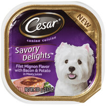Cesar® Savory Delights™ Canine Cuisine Filet Mignon Flavor with Bacon and Potato in Meaty Juices