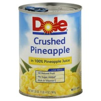 Dole Pineapple, in 100% Pineapple Juice, Crushed